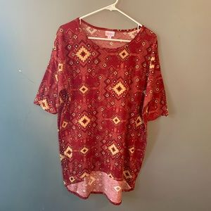 LulaRoe Irma Tunic Red Cream Geometric